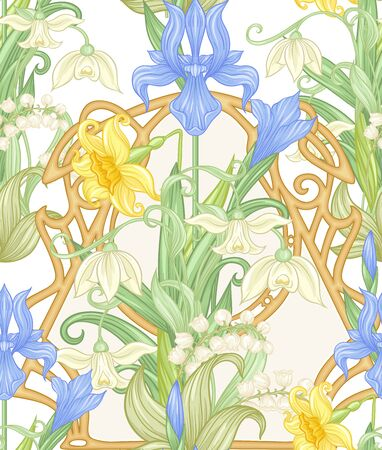 Spring flowers seamless pattern, background. Colored vector illustration. In art nouveau style, vintage, old, retro style. Isolated on white background.. 向量圖像