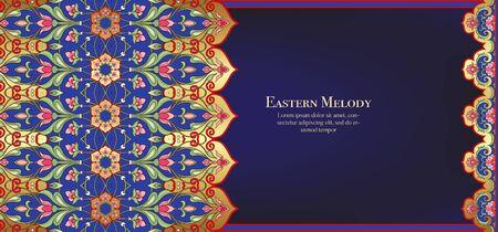 Östliches ethnisches Motiv, traditionelles muslimisches Ornament. Vorlage für Hochzeitseinladung, Grußkarte, Banner, Geschenkgutschein, Etikett. Vektor-Illustration