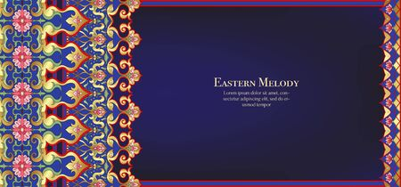 Eastern ethnic motif, traditional muslim ornament. Template for wedding invitation, greeting card, banner, gift voucher, label. Vector illustration Illustration
