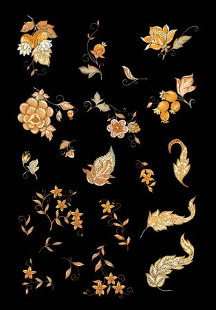 Elements for design. Fantasy flowers, traditional Jacobean embroidery style. Embroidery imitation. Vector illustration in beige colors isolated on black background.. Ilustrace