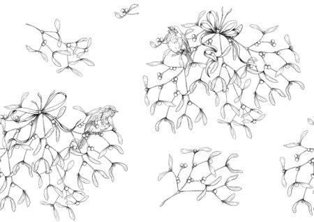 Seamless pattern, background. Mistletoe, Robin bird and ribbon. Graphic drawing, engraving style. Vector illustration Ilustracja