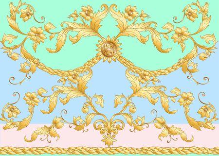 Seamless pattern in baroque, rococo, victorian, renaissance style. Trendy floral vintage pattern. Vector illustration. Stock Illustratie