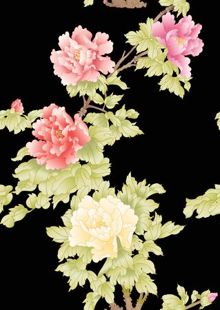 Peony tree branch with flowers in the style of Chinese painting on silk. Seamless pattern, background. Colored vector illustration Isolated on black background Banco de Imagens - 133737439