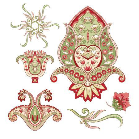 Imitation de broderie d'éléments paisley traditionnels. Illustration vectorielle colorée..
