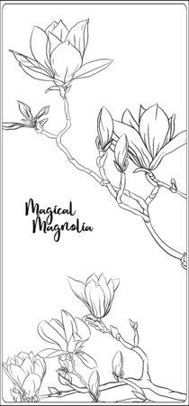 Rama de árbol de magnolia con flores. Página para colorear para el libro de colorear para adultos. Ilustración de vector de dibujo a mano de contorno.