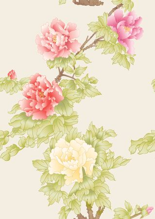 Peony tree branch with flowers in the style of Chinese painting on silk Seamless pattern, background. Colored vector illustration. On soft yellow background..