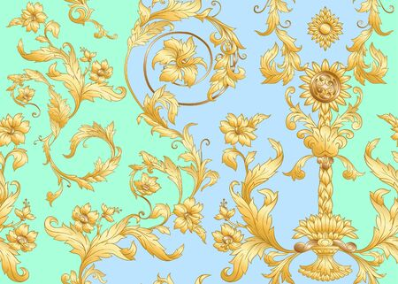 Seamless pattern in baroque, rococo, victorian, renaissance style. Trendy floral vintage pattern. Vector illustration. Иллюстрация
