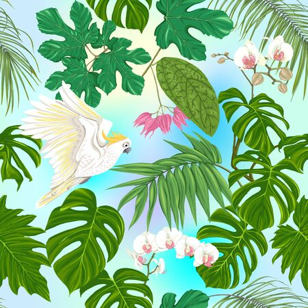 Seamless pattern, background. with tropical plants and flowers with white orchid and tropical birds on sky blue background. Colored vector illustration .