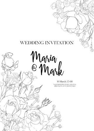 Invitación de boda con rosas blancas y flores de primavera. Ilustración de vector de dibujo a mano de contorno. Ilustración de vector