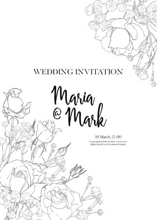 Wedding invitation with white roses and spring flowers. Outline hand drawing vector illustration. Vettoriali