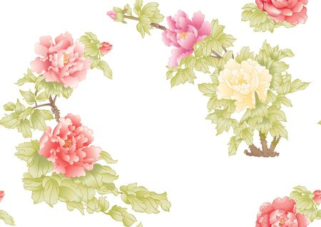 Peony tree branch with flowers in the style of Chinese painting on silk Seamless pattern, background. Colored vector illustration. Banco de Imagens - 133737644