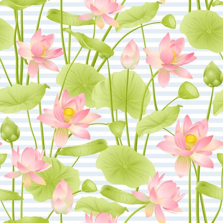 Lotus flowers seamless pattern. Vector illustration. On blue and white stripes background. Stock Vector - 133737661