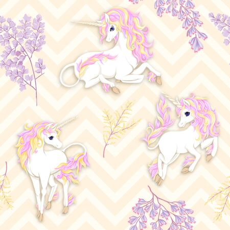 Seamless pattern, background with unicorn and fantsatic flowers and glitter. Vector illustration. On light yellow zigzag background