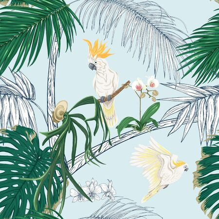 Seamless pattern, background. with tropical plants and flowers with white orchid and tropical birds on sky blue background.. Colored and outline design. Vector illustration.. Ilustración de vector