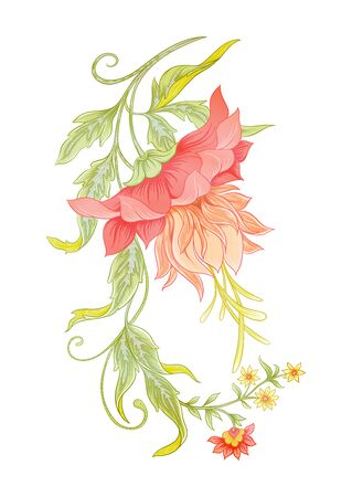 Fantasy flowers in retro, vintage, jacobean embroidery style. Element for design. Colored vector illustration. Isolated on white background.. Illustration
