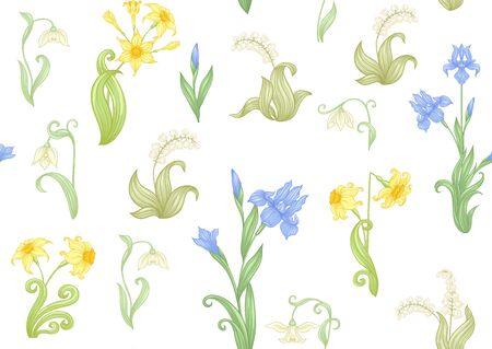 Frühlingsblumen. Narzisse, Iris, Maiglöckchen, Maililie, nahtloses Muster, Hintergrund. Vektor-Illustration. Im Jugendstil, Vintage, Alt, Retro-Stil. Isoliert auf weißem Hintergrund..