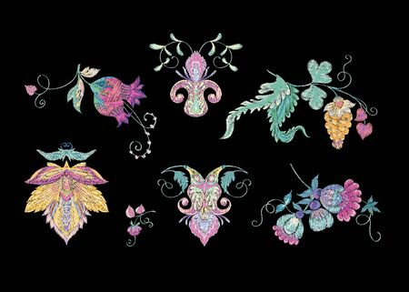 Stylized ornamental flowers in retro, vintage style. Jacobin embroidery. Vector illustration.