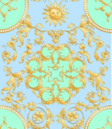Seamless pattern in baroque, rococo, victorian, renaissance style. Trendy floral vintage pattern. Vector illustration. 일러스트