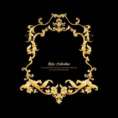Elements In baroque, rococo victorian, renaissance style. Trendy floral vintage pattern. Vector illustration Stock Illustratie