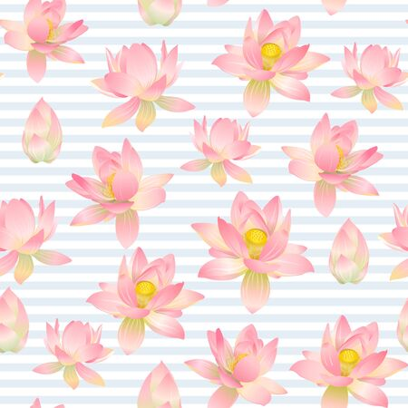 Lotus flowers seamless pattern. Vector illustration. On blue and white stripes background. Illustration