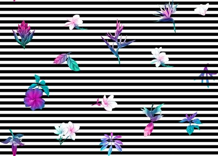Seamless pattern, background with tropical plants, flowers. Colored vector illustration in neon, fluorescent colors. On black-and-white stripes background.. Stock Illustratie
