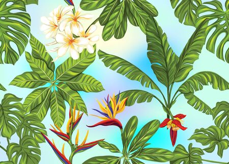 Seamless pattern, background with tropical plants, flowers. Colored vector illustration. In light ultra violet pastel colors on mesh pink, blue background