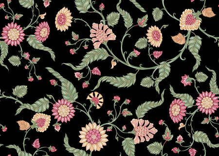 Seamless Indian floral ethnic pattern. Colored vector illustration. Isolated on black background.