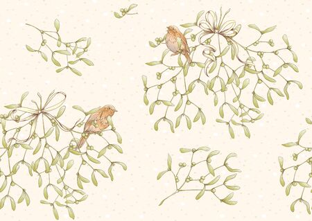 Seamless pattern, background. Mistletoe, Robin bird and ribbon. Graphic drawing, engraving style. Vector illustration.. Ilustracja