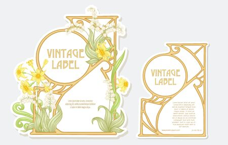 Narcissus, lily of the valley. Set of two labels. Good for product label. with place for text. Vector illustration. In art nouveau style, vintage, old, retro style. Isolated on white background.. 向量圖像