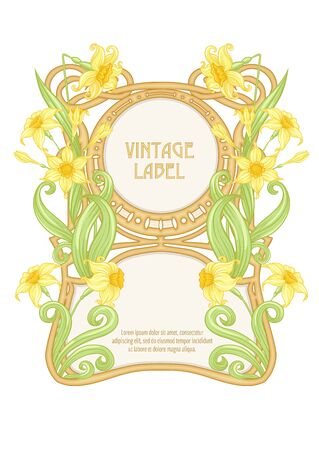 Narcissus. Label, decorative frame, border. Good for product label. with place for text Colored vector illustration. In art nouveau style, vintage, old, retro style. Isolated on white background.. 向量圖像