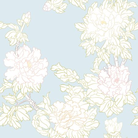 Peony tree branch with flowers in the style of Chinese painting on silk Seamless pattern, background. Colored vector illustration. Outline hand drawing vector illustration. on sky blue background.. Ilustração