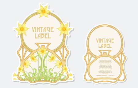 Narcissus. Set of 2 labels, decorative frames, borders. Good for product label with place for text Colored vector illustration. In art nouveau style, vintage, old, retro. Isolated on white background. 向量圖像