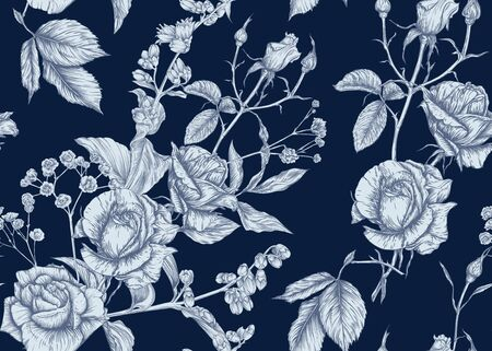 Roses and spring flowers seamless pattern. Graphic drawing, engraving style. Vector illustration. Ilustracja