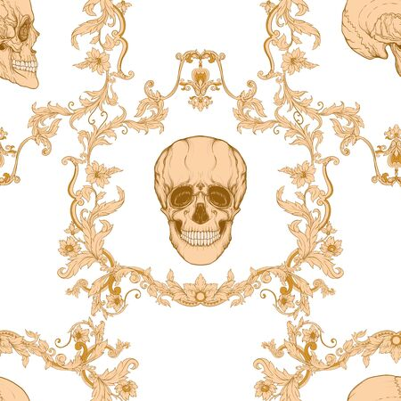 Floral pattern with human skull. Seamless pattern in baroque style. Vector illustration.