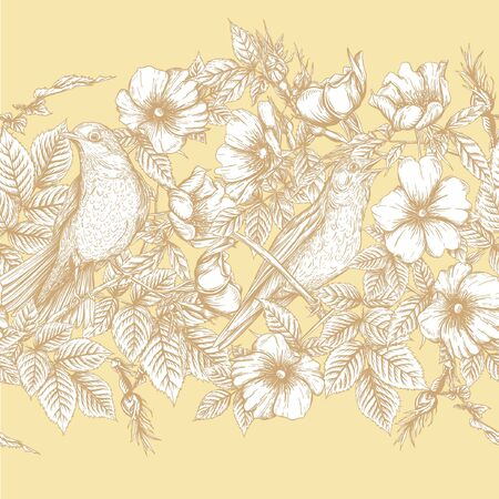 Seamless pattern, background with dog-rose, briar, brier, eglantine, canker-rose and nightingale. Template for wedding invitation, greeting card, gift voucher. Graphic drawing, Vector illustration.