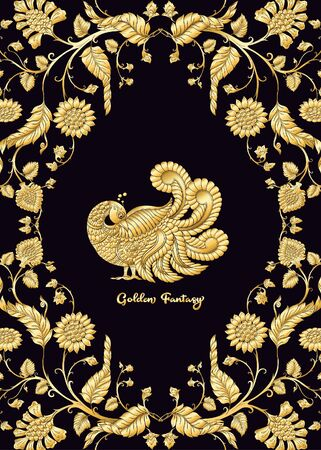 Indian ethnic pattern with stylized florwers with bird. In gold and black.Vector illustration in gold colors. . Ilustracja