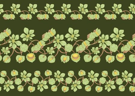 Hazelnut. Decorative motif. Seamless pattern, background. Colored vector illustration. In art nouveau style, vintage, old, retro style. On army green background. 일러스트