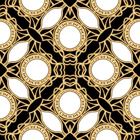 Decorative motif, frames, borders. Seamless pattern, background. Colored vector illustration. In art nouveau style, vintage, old, retro style. In vintage beige colors. Isolated on black background