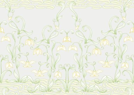 Galanthus, snowdrop, nivalis. Seamless pattern, background. Colored line art vector illustration. In art nouveau style, vintage, old, retro style. on soft grey background Stock Illustratie
