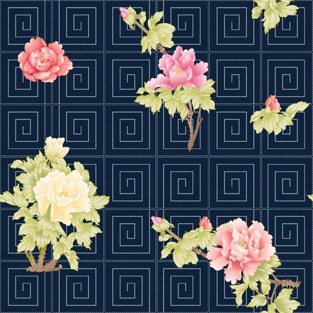 Peony tree branch with flowers in the style of Chinese painting on silk with Imitation of traditional Japanese embroidery Sashiko. Seamless pattern, background. Colored vector illustration. Ilustracja