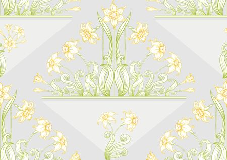 Narcissus. Seamless pattern, background. Colored vector illustration. In art nouveau style, vintage, old, retro style. In soft yellow colors. On soft grey background..