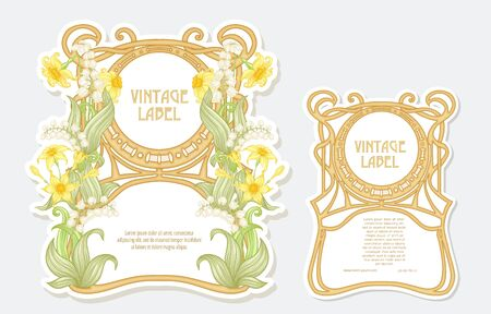 Narcissus, lily of the valley. Set of two labels. Good for product label. with place for text. Vector illustration. In art nouveau style, vintage, old, retro style. Isolated on white background.. 일러스트