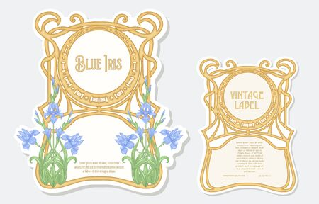 Iris flower. Set of 2 labels, decorative frames, borders. Good for product label. with place for text. Vector illustration. In art nouveau style, vintage, old, retro style. Isolated on white..
