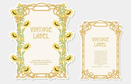 Sunflower. Set of 2 labels, decorative frames, borders. Good for product label with place for text Colored vector illustration. In art nouveau style, vintage, old, retro. Isolated on white background. 일러스트