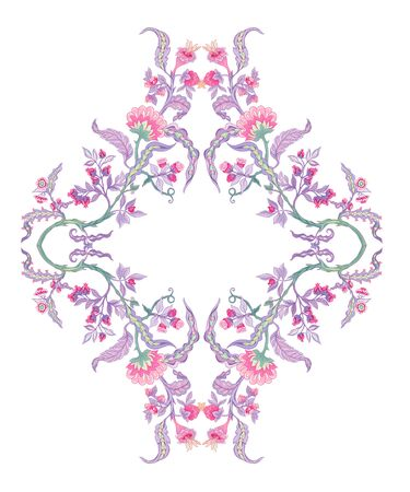 Pattern with stylized ornamental flowers in retro, vintage style. Jacobin embroidery. Colored vector illustration In pink, blue, ultraviolet colors Ilustrace