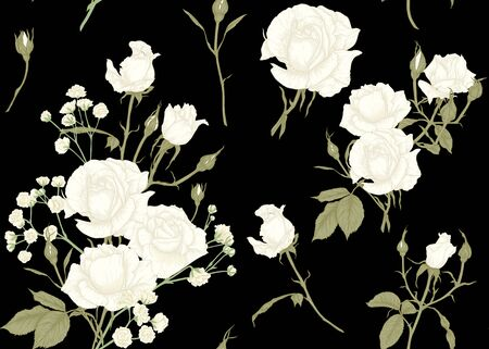 Roses and spring flowers seamless pattern. Graphic drawing, engraving style. Vector illustration. Isolated on black background.