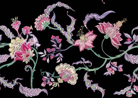 Fantasy floral seamless pattern in jacobean embroidery imitation, vintage, old, retro style. Vector illustration 일러스트