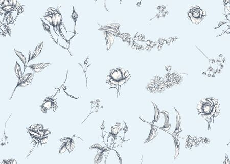 Roses and spring flowers seamless pattern. Graphic drawing, engraving style. Vector illustration. 일러스트