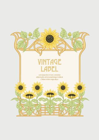 Sunflower. Label, decorative frame, border. Good for product label. with place for text Colored vector illustration. In art nouveau style, vintage, old, retro style. Isolated on white background.. 일러스트