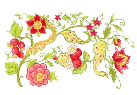 Fantasy flowers, traditional Jacobean embroidery style. Elements for design. Vector illustration in bright red and green colors isolated on white background..